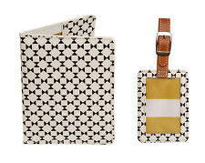 Caroline Gardner NEW! Geometric Black & White Luggage Tag and Passport Cover Set
