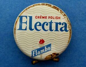 Boite de Cirage Ancienne N° 5 - ELECTRA CRÈME POLISH FLAMBO - Fond rouge Ø 80 mm