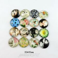 15-Pack Mixed Patterns Glass Cabochons Glue On Flatback Jewelry Craft 25x25x7mm