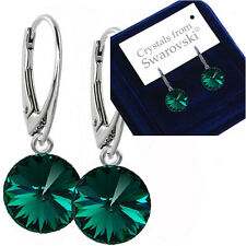 925 Argento Sterling Orecchini Dangle Emerald Rivoli 12 mm cristalli di Swarovski ®