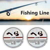 Transparent Fishing Line 100m Nylon Transparent Fluorocarbon Tackle Line S6V4