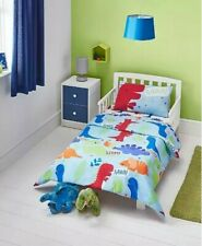 Kids Boys colourful Dinosaur Blue Duvet Set - Cot & Cot Bed toddler Bedding