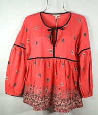 Lucky Brand Women's Pink Daisy Peasant Boho Top Blouse XL NWT