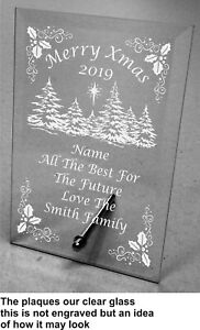 Plain or Engraved Personalised Christmas Glass Plaque