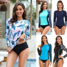 Women's Long Sleeve Rash Guard UPF 50+ Sun Protection Surf Swimsuit Top Striped