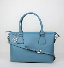 Gucci Teal Blue Leather GG Charm Convertible Straight Bag With Strap 449659 4618