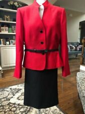New w/tag Tahari size 22 W red belted jacket black skirt suit