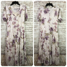 New listing Vtg 90s Starina Womens Cream Purple Floral Lace Overlay Boho Grunge Maxi Dress L
