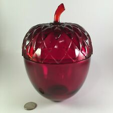 Large Red Glass Acorn Covered Bowl or Candy Dish - Perfect Thanksgiving Decor!