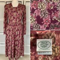 Laura Ashley Burgundy Floral Midi Dress Size 10 Vintage Made In GB Wool Blend