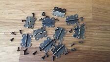 10 Bisagras de Puerta 24x20mm bronceado en miniatura y Tornillos Caja de joyería de casa de muñecas