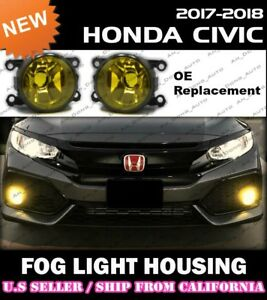 [YELLOW] 17 18 19 20 21 HONDA CIVIC HATCHBACK SEDAN Fog Light Housing Lamp JDM