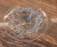 Peill Germany ~ Lead Glass Crystal Embossed Flowers Fruit Bowl ~ Signed