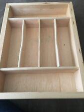 """Silverware Flatware Wooden Storage Tray 11 3/4"""" x 15 3/4"""" x H 2 5/8"""""""