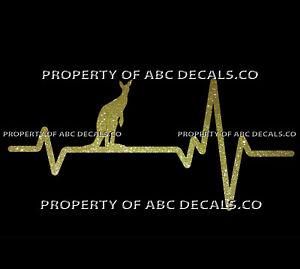 HEART BEAT LINE ANIMAL KANGAROO Marsupial Pouch Kanga Standing CAR METAL DECAL