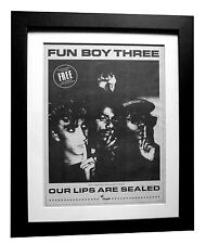 FUN BOY THREE+Our Lips Sealed+POSTER+AD+ORIGINAL 1983+FRAMED+FAST GLOBAL SHIP