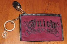 Juicy Couture Brown Leather Trim Burgundy Coin purse Key Ring Charm Heart VGC