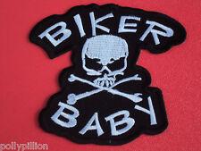 MOTORCYCLE CHOPPER SEW/IRON ON PATCH:- BIKER BABY SKULL & CROSSBONES