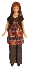 DOLLS HOUSE DOLL 1/12th SCALE MODERN WOMAN  IN  JEANS AND SMOCK TOP