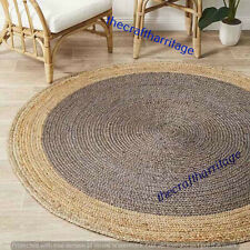 Handmade Natural Jute Rug Braided Rug Round 9 Feet Dining Floor Living Area Rug