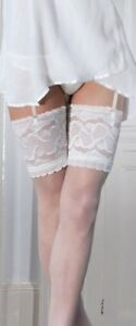 Quality Bridal Hold Ups UK Couture White Ivory Soft Sheer Lace Top Hold ups
