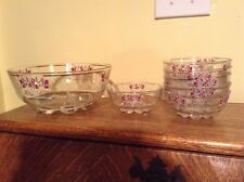 Stunning vintage footed painted glass berry salad bowl with six sm bowls Italy