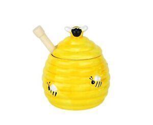 Honigtopf mit Honiglöffel Bienenstockoptik Keramik Honig Honigheber Honigdose