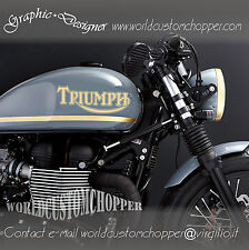2 ADESIVI DECAL STICKERS TRIUMPH MOTO CUSTOM CAFE RACER DA SERBATOIO