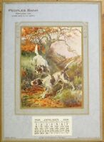 Portland, IN 1928 Advertising Calendar w/Hunting Dogs - Peoples Bank - Indiana