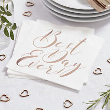 Best Day Ever Rose Gold White Napkins Wedding  Party Tableware Decoration x 20