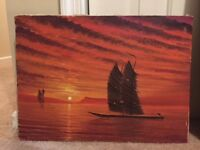 Vintage Asian Junk Ships Orange Sunset Oil Painting Seascape Signed Young