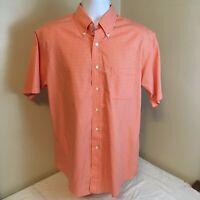 Brooks Brothers 346 Mens Shirt Orange Gingham Plaid Medium All Cotton Non Iron