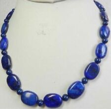 Natural Oval Lapis Lazuli 13x18mm Dark Blue Beads Necklace 18'' JN400