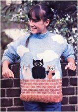 """Ladies Girls Size 30-36"""" Brushed Chunky Cats Back Front Sweater Knitting Pattern"""