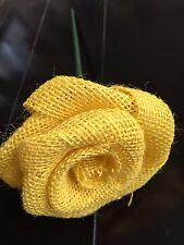 Burlap Flower Texas Yellow Rose STEM Rustic Wedding Table Bouquet Wreath Venue