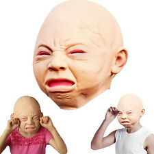 Funny Cry Baby Full Head Face Latex Scary Mask Halloween Party Adult Cosplay New