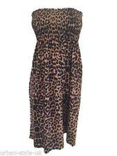 Thigh-Length Animal Print Skater Dresses Unbranded