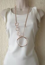 "Beautiful 32"" long ROSe gold metal linked  layered hoop pendant & chain necklace"