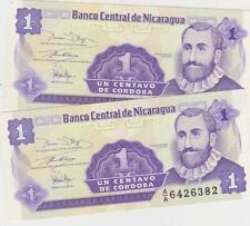 Mazuma *F568 Nicaragua 1991 1 Centavo A/A 6426381-82 UNC 2 Running