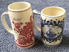 AMSTEL RED DELFT & HEINEKEN FLORA BEER MUG STEIN Set Hand painted HOLLAND