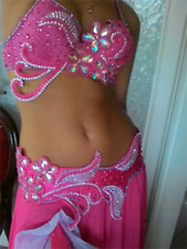 Pink belly dance costume, belt and bra only, medium, rave, festival, boho