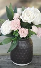 """Flowers For Mom Made By Hand Sola Wood W/ Vase Home Decoration 12"""""""