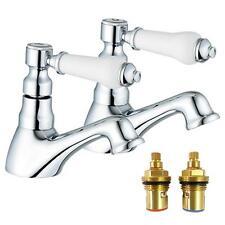 1/4 giro Antico Vittoriano Stile bagno Caldo & Freddo bacino rubinetti CIGNO (2)