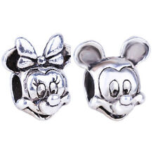 1pair Silver Spacer Minnie Mickey Mouse Beads Fit European Charm Bracelet Dangle