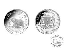 Somalia 100 Shilling Elefant Elephant 2022 1 oz 999.9 Silber * Stempelglanz*