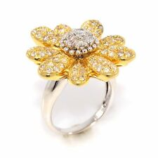 Pave Diamond Flower Ring in 18k Yellow and White Gold