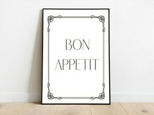 BON Appetit Border Kitchen Hungry Wall Print A3/A4/A5 Posters Gift Idea