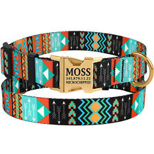 Mogoko Custom Engraved Floral Dog Collar Personalized ID Name//Phone//Address Engraved Puppy Pet Collars with Metal Buckle for Small Medium Large Dogs
