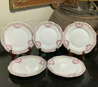 "5 KPM Rose Garland or Swag 6 5/8"" Dessert Plates Made in Germany - Excellent"