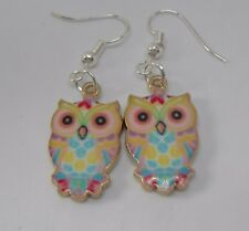 Pretty Owl  Drop Sterling Silver Dangle Enamel Earrings